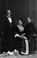 0174725 © Granger - Historical Picture ArchiveLELAND STANFORD (1824-1893).   American railroad builder, politician and founder of Stanford University. Standford with his wife and son, c1880.