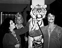 0071322 © Granger - Historical Picture ArchiveTAYLOR, SIEGFRIED & ROY, 1976.   Film actress Elizabeth Taylor (1932-2011) photographed with magicians Siegfried Fischbacher (b. 1939) and Roy Horn (b. 1944) and a tiger used in their act, Las Vegas, 1976.