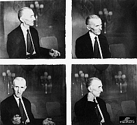 0175792 © Granger - Historical Picture ArchiveNIKOLA TESLA (1856-1943).   American electrician, physicist, and inventor. Born in Croatia, of Serbian parents. Series of photographs of Tesla taken during an interview on the occasion of his 79th birthday, 1935.