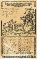 0009346 © Granger - Historical Picture ArchiveJOHANN TETZEL (c1465-1519).   German Dominican monk. Tetzel riding his ass and selling indulgences. Contemporary German broadside.