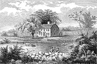 0039048 © Granger - Historical Picture ArchiveBENJAMIN THOMPSON   (1753-1814). Count Rumford. American physicist, inventor, and adventurer. Benjamin Thompson's birthplace at Woburn, Massachusetts. Line engraving, American, 19th century.