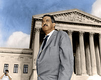 0528203 © Granger - Historical Picture ArchiveTHURGOOD MARSHALL   (1908-1993). American jurist. Photographed before the Supreme Court in Washington, D.C.