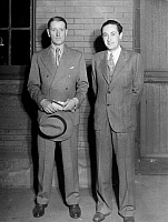 0059717 © Granger - Historical Picture ArchiveIRVING THALBERG (1899-1936).   American motion picture producer. Thalberg (right) with English playwright Frederick Lonsdale in Hollywood in August 1932.