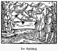 0042036 © Granger - Historical Picture ArchiveWILLIAM TELL.   Legendary Swiss hero. The apple shoot. Woodcut from Jakob Ruff's version 'Von dem frommen und ersten Eydgnossen Wilhelm Thellen,' acted by the townspeople of Zurich on New Year's Day, 1545.