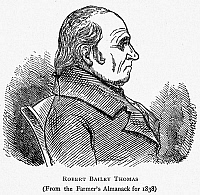 0028667 © Granger - Historical Picture ArchiveROBERT BAILEY THOMAS   (1766-1846). American publisher. Wood engraving, 1838, from 'The Farmer's Almanac,' which Thomas founded in 1792.