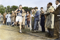 0073676 © Granger - Historical Picture ArchiveALAN MATHISON TURING   (1912-1954). English mathematician and logician. Finishing second in a three-mile race at Dorking, England: oil over a photograph, 1946.