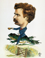 0008535 © Granger - Historical Picture ArchiveSAMUEL LANGHORNE CLEMENS   (1835-1910). Pseudonym Mark Twain. American writer and humorist. Riding the celebrated jumping frog. Colored caricature, 1872, by Frederick Waddy.