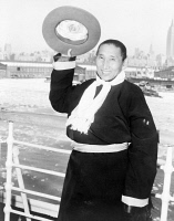 0622723 © Granger - Historical Picture ArchiveNGAWANG WANGYAL   (1901-1983). Known as Geshe Wangyal. Kalmyk Buddhist priest and scholar. Arriving in New York on a trip from Tibet. Photograph, 1955.