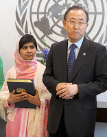 0622405 © Granger - Historical Picture ArchiveMALALA YOUSAFZAI (1997-).   Pakistani education activist and Nobel Prize laureate. With United Nations Secretary-General Ban Ki-Moon. Photograph, 12 July 2013. Full Credit: ullstein bild - snapshot-photography / Future Image/Van Tine / Granger, NYC. All Rights Reserved.