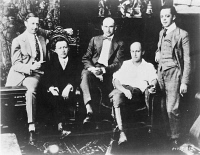 0131754 © Granger - Historical Picture ArchiveFAMOUS PLAYERS, c1916.   Members of the Famous Players Film Company, founded by Adolph Zukor. Left to right: Jesse Lasky, Adolph Zukor, Samuel Goldwyn, Cecil B. DeMille and Al Kaufman. Photograph, c1916.
