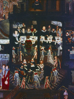 0353004 © Granger - Historical Picture ArchiveSIR HENRY UNTON   (c1557-1596). English soldier and diplomat. Presiding over a banquet in his home at Wadley House, Oxfordshire, accompanied by the performance of a masque. Oil on panel (detail), c1596, by an unknown artist.