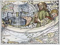 0007072 © Granger - Historical Picture ArchiveAMERIGO VESPUCCI (1454-1512).   Detail from map of the world and account of Vespucci's voyage, 1507, by Martin Waldseemuller, who suggested that the New World be named