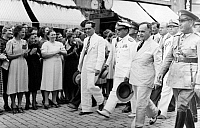 0110056 © Granger - Historical Picture ArchiveGETULIO VARGAS (1883-1954).  Brazilian statesman. Vargas (second from right) arriving in the city of Florianopolis, the capitol of the Brazilian state of Santa Catarina. Photographed 1940.