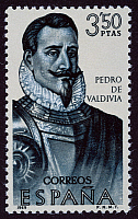 0049632 © Granger - Historical Picture ArchivePEDRO DE VALDIVIA   (c1500-1553). Spanish soldier; conqueror of Chile. On a Spanish postage stamp, 1969.