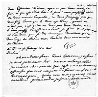 0075558 © Granger - Historical Picture ArchiveLETTER TO VOLTAIRE   from King Frederick II of Prussia (top), and Voltaire's reply (bottom), 5 December 1752.