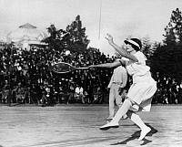 0169683 © Granger - Historical Picture ArchiveHELEN NEWINGTON WILLS   (1906-1998). American tennis player. Wills competing in a doubles match at a tournament in Nice, France, 1926.