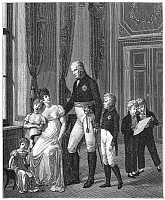 0076665 © Granger - Historical Picture ArchivePRUSSIAN ROYAL FAMILY, 1807.   King Frederick William III of Prussia, center, and his family; at the king's side stands the future King Frederick William IV, and, at far right, the future King William I. Line engraving, 19th century, after a painting, 1807, by Heinrich Anton Dahling.