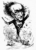 0124973 © Granger - Historical Picture ArchiveRICHARD WAGNER (1813-1883).   German composer. Wagner conducting up a storm. Caricature drawing by Faustin for the 'London Figaro,' 1876.