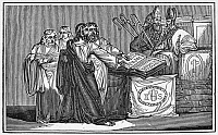 0071643 © Granger - Historical Picture ArchivePETER WALDO (d. c1218).   French religious leader who founded the Waldenses. Waldo at the third Lateran Council at Rome in 1179 seeking confirmation of himself and his followers as lay preachers. Wood engraving, early 19th century.