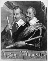 0350424 © Granger - Historical Picture ArchiveWALLENSTEIN AND GUSTAVUS.   Albrecht von Wallenstein (1583-1634) and Gustavus Adolphus of Sweden (1594-1632). Lithograph, 19th century, after paintings by Anthony van Dyck.