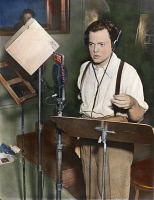 0053217 © Granger - Historical Picture ArchiveORSON WELLES (1915-1985).   American director, producer, screenwriter, and actor. Shown broadcasting his famous adaptation of H.G. Wells' novel 'The War of the Worlds,' 30 October 1938. Oil over a photograph.