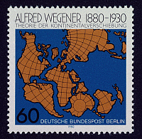 0067019 © Granger - Historical Picture ArchiveALFRED WEGENER (1880-1930).   German geophysicist and meteorologist. Wegener's theory of continental drift on a West German postage stamp, 1980.