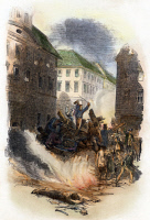 0071873 © Granger - Historical Picture ArchiveREVOLUTION OF 1848: BERLIN.   Revolutionaries in Berlin exchange fire with Prussian government forces from behind a barricade in the Breite Strasse, 18 March 1848. Wood engraving from a contemporary English newspaper.
