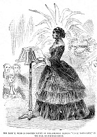 0071805 © Granger - Historical Picture ArchiveMARY WEBB (Fl.1850-60).   American freedwoman. Mrs. Webb reading 'Uncle Tom's Cabin' at the London home of the Duchess of Sutherland in 1856. Contemporary English engraving.