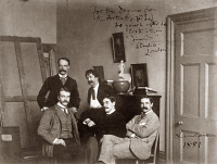 0622009 © Granger - Historical Picture ArchiveWHISTLER: STUDIO, 1881.   Julian and Waldo Story, James McNeill Whistler, Frank Miles, and Honorable Frederick Lawless in Whistler's London studio. Photograph, 1881.
