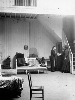 0622010 © Granger - Historical Picture ArchiveWHISTLER: STUDIO, c1890.   American artist James McNeill Whistler and a lady, photographed in Whistler's studio. Photograph by George Percy Jacomb Hood, c1890.
