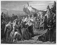 0053398 © Granger - Historical Picture ArchiveWITTEKIND (d. c807).   Westphalian chieftain. The submission of Wittekind to Charlemagne in 785. Steel engraving, 19th century.