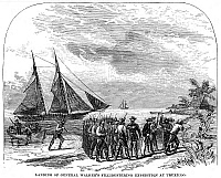 0014781 © Granger - Historical Picture ArchiveWILLIAM WALKER (1824-1860).   American adventurer. Walker landing at Trujillo, Honduras, in August 1860. Wood engraving, American, 19th century.