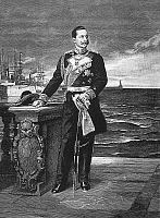 0001747 © Granger - Historical Picture ArchiveWILLIAM II OF GERMANY   (1859-1941). Emperor of Germany, 1888-1918. William II in his naval uniform. Steel engraving, German, after the painting by Friedrich August von Kaulbach (1850-1920).