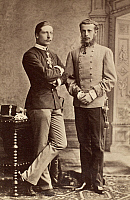 0101639 © Granger - Historical Picture ArchiveCROWN PRINCES, 1883.   Friedrich Wilhelm Viktor Albert (left), Crown Prince of Prussia and future Emperor William II of Germany (1859-1941), with Archduke Rudolf, Crown Prince of Austria (1858-1889). Original cabient photograph, Vienna, 1883.