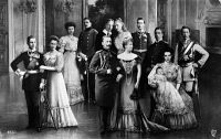 0325130 © Granger - Historical Picture ArchiveWILHELM II (1859-1941).   German Kaiser. Composite portrait of the royal family, c1907. Left to right: Prince August Wilhelm and Alexandra Victoria; Prince Eitel Friedrich and Duchess Sophia Charlotte; Wilhelm II and Augusta Victoria (front); Joachim and Victoria Louise; Prince Oskar; Prince Adalbert; Crown Prince William and wife, Cecilie, with son.