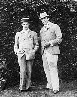 0018405 © Granger - Historical Picture ArchiveOSCAR WILDE (1854-1900).   Irish writer and wit. Phtographed with Lord Alfred Douglas, left, at Fellbrigg in Norfolk, England, 1897.