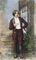 0052086 © Granger - Historical Picture ArchiveOSCAR WILDE (1854-1900).   Irish writer and wit. Oil over a photograph, 1882, by Napoleon Sarony, taken at the beginning of Wilde's American tour.