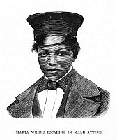 0047842 © Granger - Historical Picture ArchiveMARIA WEEMS (1840-?).   American fugitive slave. Maria Weems escaping in male attire. Wood engraving, 19th century.