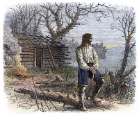 0093077 © Granger - Historical Picture ArchiveROGER WILLIAMS (1603-1683).   American cleric and founder of the colony of Rhode Island. Williams building his house at Manton's Cove, directly east of present-day Providence, Rhode Island, 1636. Line engraving, 19th century.