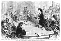 0044924 © Granger - Historical Picture ArchiveVICTORIA CLAFLIN WOODHULL   (1838-1927). American reformer. Victoria Claflin Woodhull reading her argument in favor of women's suffrage before the Judiciary Committee of the House of Representatives in 1871. Directly behind Mrs. Woodhull is Elizabeth Cady Stanton and at the extreme left is Susan B. Anthony.