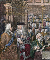0060537 © Granger - Historical Picture ArchiveROBERT WALPOLE (1676-1745).   1st Earl of Orford. English statesman. Walpole (left) at the entry to the House of Commons with the Speaker, Arthur Onslow. Line and stipple engraving after William Hogarth and Sir James Thornhill.