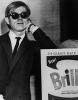 0170226 © Granger - Historical Picture ArchiveANDY WARHOL (1928-1987).   American artist and filmmaker. Photographed with his work 'Brillo Box' at a showing at the Four Seasons restaurant in New York City, 14 March 1965.