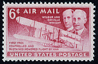 0022172 © Granger - Historical Picture ArchiveWRIGHT BROTHERS.   Wilbur (1867-1912) and Orville Wright (1871-1948). American pioneers in aviation. The Wright Brothers and their first flight (1903) commemorated on a U.S. postage stamp, 1949.