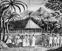 0028850 © Granger - Historical Picture ArchiveSAMUEL WALLIS (1728-1795).   English circumnavigator. Wallis at Tahiti in 1767. Line engraving, 18th century.
