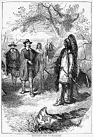 0028650 © Granger - Historical Picture ArchiveEDWARD WINSLOW (1595-1655).   English colonist in America. Winslow's visit to the Wampanoag Native American chief, Massasoit, in 1621. Wood engraving, American, 19th century.