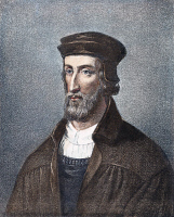 0011277 © Granger - Historical Picture ArchiveJOHN WYCLIFFE (1320?-1384).   English religious reformer and theologian. Lithograph, Scottish, 19th century, after Louis Joseph Ghémar.