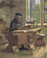 0040410 © Granger - Historical Picture ArchiveJOHN WYCLIFFE (1320?-1384).   English religious reformer and theologian. Wycliffe writing. Wood engraving, American, 1885.
