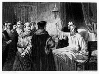 0047132 © Granger - Historical Picture ArchiveJOHN WYCLIFFE (1320?-1384).   English religious reformer and theologian. From his sickbed, Wycliffe rejects an appeal from a group of friars to retract his teachings, 1378. Steel engraving, 19th century.