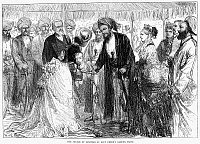 0072538 © Granger - Historical Picture ArchiveSULTAN OF ZANZIBAR.   Barghash bin Said of Zanzibar (1837-1888). The Sultan feted by Lady Frere at her garden party during his visit to London, England, in 1875. Contemporary English wood engraving.