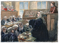 0010722 © Granger - Historical Picture ArchiveJOHN PETER ZENGER TRIAL.   John Zenger, an American printer and journalist, in the dock defended by Andrew Hamilton at his trial for seditious libel in New York City, 1735. Drawing, late 19th century.